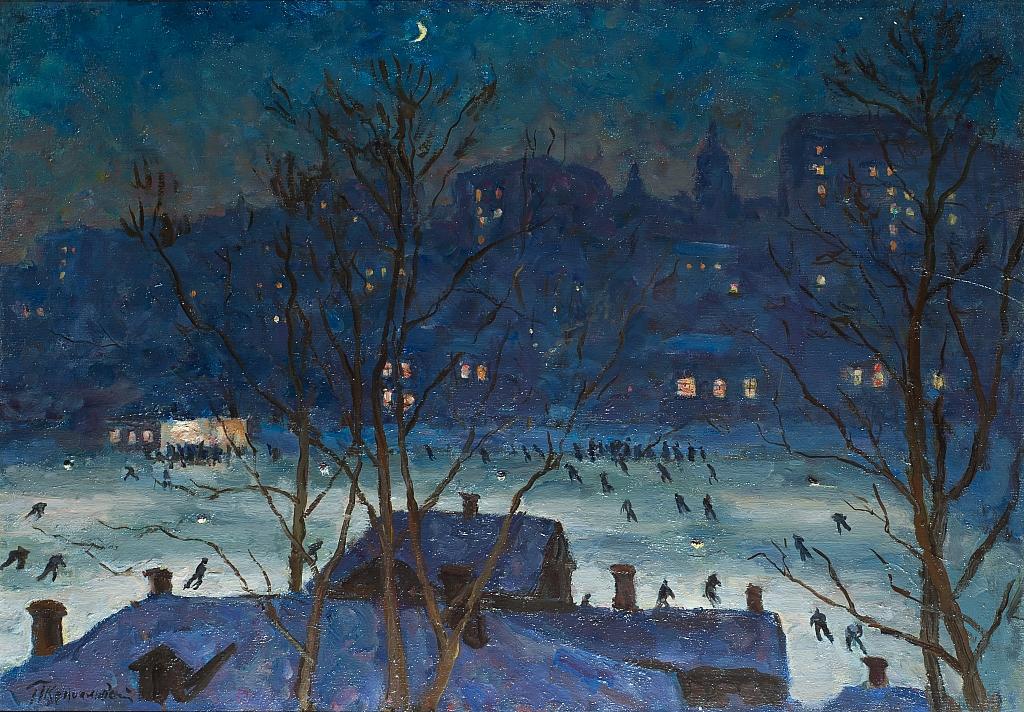 """Opera del pittore Konchalovskij, """"Dinamo, pista di pattinaggio"""" presso il museo dell'impressionismo russo di Mosca"""